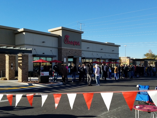 People line up outside of Chick-fil-A in Henderson a full day ahead of the Thursday grand opening of the eatery at 460 N. Stephanie St. in Henderson on Wednesday, Jan. 25, 2017. (Brett Steidler/La ...