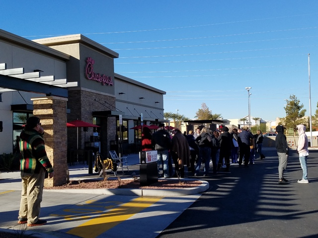 People line up outside of Chick-fil-A at 460 N. Stephanie St. in Henderson a full day ahead of the Thursday grand opening of the eatery in Henderson on Wednesday, Jan. 25, 2017. (Brett Steidler/La ...
