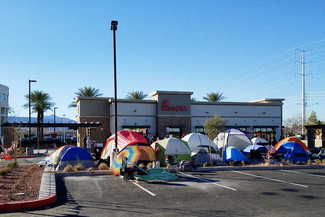 Anxious Chick-fil-A customers set up camp a full day ahead of the Thursday grand opening of the eatery at 460 N. Stephanie St. in Henderson on Wednesday, Jan. 25, 2017. (Brett Steidler/Las Vegas R ...