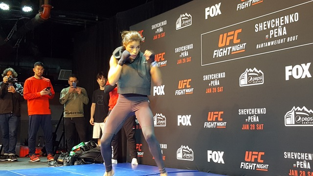 UFC women's bantamweight contender Julianna Pena participates in open workouts Thursday at EXDO Event Center in Denver in advance of her UFC on Fox 23 bout against Valentina Shevchenko on Saturday ...