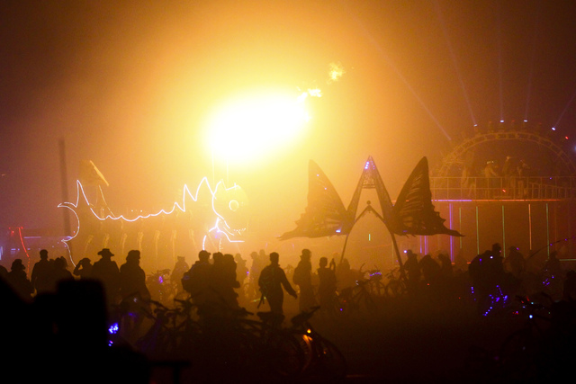 Attendees and art cars gather before the Man burns during Burning Man at the Black Rock Desert north of Reno on Saturday, Sept. 3, 2016. (Chase Stevens/Las Vegas Review-Journal) @csstevensphoto