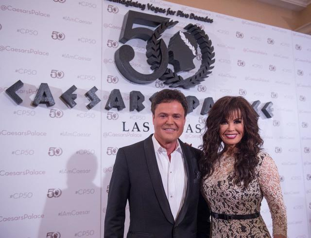 Flamingo headliners Donny Osmond and Marie Osmond arrive at Caesars Palace's 50th anniversary celebration Saturday, Aug. 6, 2016, in Las Vegas. (Tom Donoghue)