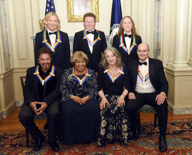 The 2016 Kennedy Center Honorees, front row, from left, Al Pacino, Mavis Staples, Martha Argerich and James Taylor, back row, from left, Joe Walsh, Don Henley and Timothy Schmit are photographed a ...