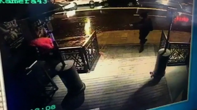 This image taken from CCTV provided by Haberturk Newspaper Sunday Jan. 1, 2017 shows the attacker, armed with a long-barrelled weapon, shooting his way into the Reina nightclub in Istanbul, Turkey ...