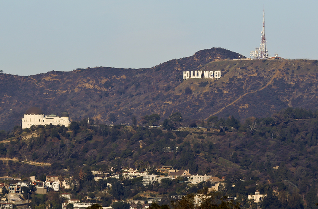 The Hollywood sign is seen vandalized Sunday, Jan. 1, 2017. Los Angeles