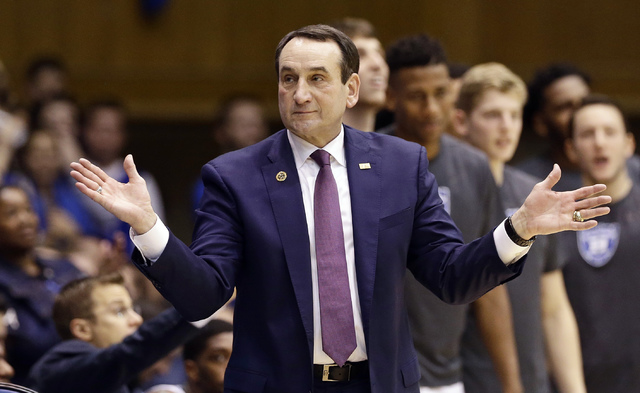 In this Nov. 29, 2016, file photo,Duke coach Mike Krzyzewski reacts during the second half of an NCAA college basketball game against Michigan State in Durham, N.C. Krzyzewski has lamented this ha ...