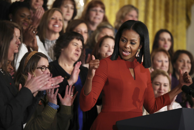 Michelle Obama gives her final speech as first lady at the 2017 School Counselor of the Year ceremony in the East Room of the White House in Washington, Friday, Jan. 6, 2017. (Manuel Balce Ceneta/AP)