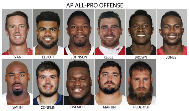 These are file photos showing players selected to The Associated Press 2016 NFL All-Pro Team offense. From top left are Atlanta quarterback Matt Ryan, Dallas running back Ezekiel Elliott, Arizona' ...