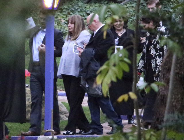 Penny Marshall second from left, leaves a memorial service at the homes of Debbie Reynolds and her daughter Carrie Fisher in Los Angeles Thursday, Jan. 5, 2017. Reynolds died Dec. 28 at the age of ...