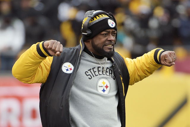 Pittsburgh Steelers head coach Mike Tomlin reacts on the sideline during the first half of an AFC wildc-ard NFL football game against the Miami Dolphins in Pittsburgh, Sunday, Jan. 8, 2017. (Fred  ...