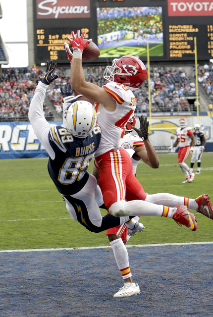 In this Sunday, Jan. 1, 2017, file photo, Kansas City Chiefs defensive back Daniel Sorensen, right, intercepts a pass intended for San Diego Chargers wide receiver Isaiah Burse (89) during the fir ...