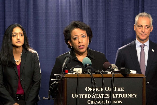 Attorney General Loretta Lynch speaks during a news conference accompanied by Principal Deputy Assistant Attorney General Vanita Gupta, left, and Chicago Mayor Rahm Emanuel Friday, Jan. 13, 2017,  ...