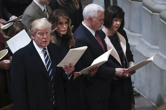President Donald Trump, first lady Melania Trump, Vice President Mike Pence and his wife Karen. (Manuel Balce Ceneta/AP)