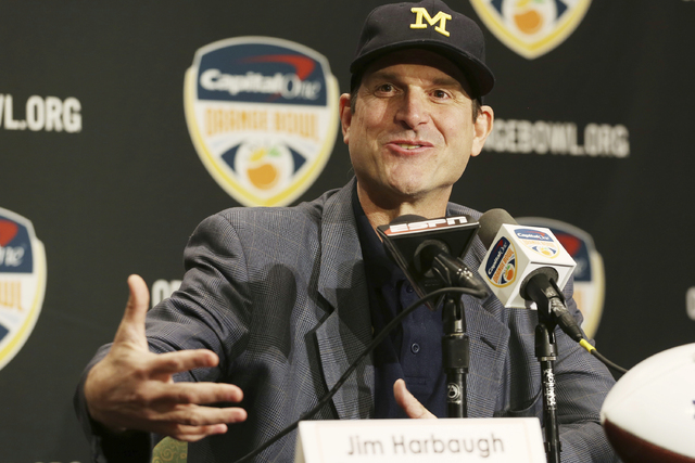 This Dec. 29, 2016 file photo shows Michigan head coach Jim Harbaugh speaking during a news conference in Fort Lauderdale, Fla. (Marta Lavandier, file/AP)