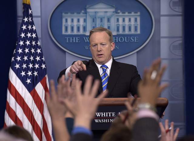 White House press secretary Sean Spicer calls on a reporter during the daily briefing at the White House in Washington, Tuesday, Jan. 24, 2017. Spicer answered questions about the Dakota Pipeline, ...