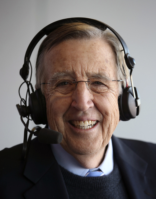 In this Dec. 17, 2016, photo provided by ESPN, Brent Musburger smiles during the Las Vegas Bowl college football game. Musburger is calling an end to his broadcast career. Millions of Americans ex ...