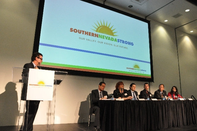 Jeremy Aguero, the principal analyst with Applied Analysis, leads a panel discussion at the Feb. 8 project launch of Southern Nevada Strong. COURTESY