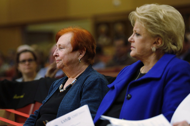 Barbara Atkinson, founding dean of UNLV School of Medicine, left, and Las Vegas Mayor Carolyn Goodman attend a town hall meeting to discuss an overview of the Las Vegas Medical District at City Ha ...