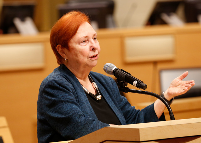 Barbara Atkinson, founding dean of UNLV School of Medicine, speaks during a town hall meeting to discuss an overview of  UNLV School of Medicine at City Hall in Las Vegas, Tuesday, Jan. 24, 2017.  ...