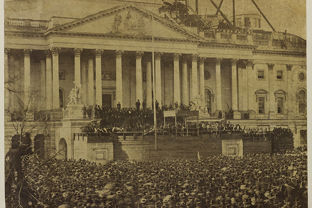 This March 4, 1861 photo of the first inauguration of President Abraham Lincoln taking the oath of office is set to be unveiled by Bowdoin College on Thursday, Jan. 12, 2017, in Brunswick, Maine.  ...
