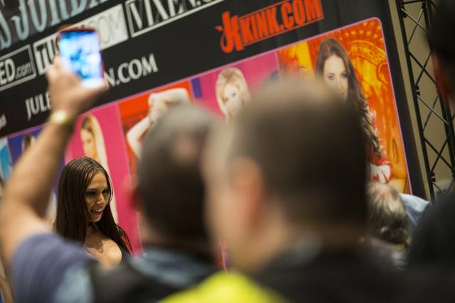 Porn star Aidra Fox poses for fans during the AVN Adult Entertainment Expo at Hard Rock hotel-casino in Las Vegas on Thursday, Jan. 19, 2017. (Chase Stevens/Las Vegas Review-Journal) @csstevensphoto