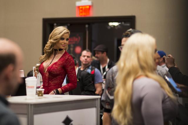 Porn star Jessa Rhodes poses for fansduring the AVN Adult Entertainment Expo at Hard Rock hotel-casino in Las Vegas on Thursday, Jan. 19, 2017. (Chase Stevens/Las Vegas Review-Journal) @csstevensphoto