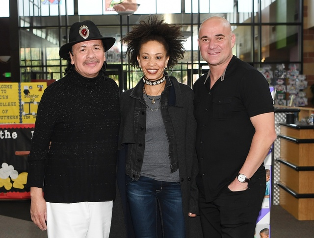 Carlos Santana, Cindy Blackman Santana and Andre Agassi on Tuesday, Nov. 1, 2016, in Las Vegas. (Denise Truscello/WireImage)