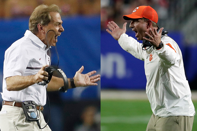 Alabama head coach Nick Saban (left) and Clemson head coach Dabo Swinney (right) meet for a rematch of last year's College Football Playoff National Championship tonight. (File/AP)