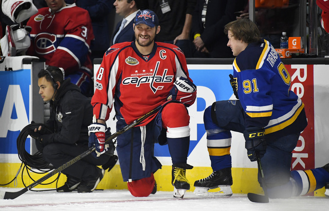 Washington Capitals' Alex Ovechkin, left, talks with St. Louis Blues' Vladimir Tarasenko during the NHL All-Star Skills Competition at Staples Center, Saturday, Jan. 28, 2017, in Los Angeles. The  ...