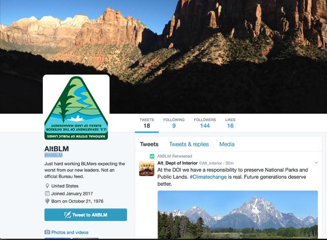 A screenshot of an alternative Twitter account for the Bureau of Land Management.