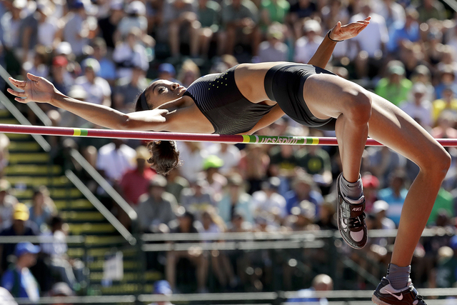 Vashti Cunningham clears the bar during the women's high jump final at the U.S. Olympic Track and Field Trials in Eugene, Ore., July 3, 2016. (Charlie Riedel, File/AP)