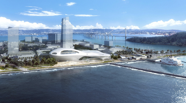 This concept design provided by the Lucas Museum of Narrative Art shows a rendering of their proposed museum on Treasure Island in San Francisco. In January George Lucas, the legendary filmmaker,  ...