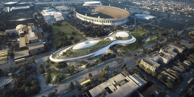 This concept design provided by the Lucas Museum of Narrative Art shows a rendering of their proposed museum in Exposition Park in Los Angeles. In January George Lucas, the legendary filmmaker, is ...