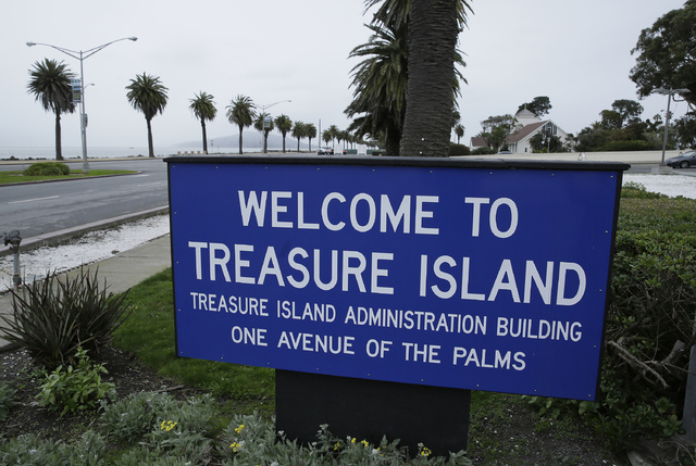In this Dec. 14, 2016, photo, a sign welcomes visitors to Treasure Island in San Francisco. For nearly a decade, George Lucas has been trying to build a museum for his extensive personal art colle ...