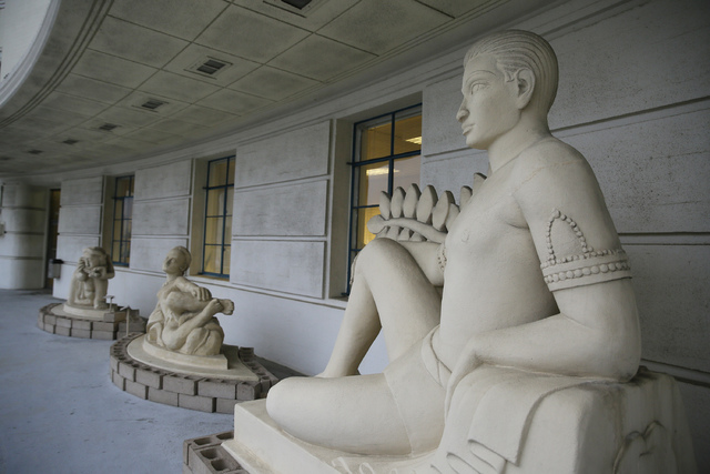 In this Dec. 14, 2016, photo, sculptures from the 1939 Golden Gate International Exposition face a proposed site of the George Lucas Museum on Treasure Island in San Francisco. For nearly a decade ...
