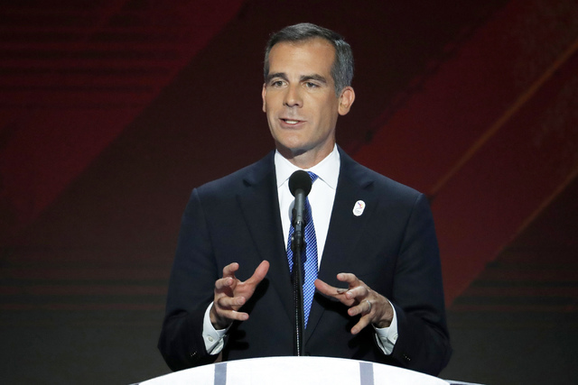 In this July 28, 2016 file photo, Los Angeles Mayor Eric Garcetti speaks during the Democratic National Convention in Philadelphia. For nearly a decade, George Lucas has been trying to build a mus ...