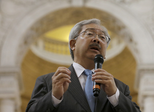 In this Nov. 14, 2016 photo, San Francisco Mayor Ed Lee speaks during a meeting at City Hall in San Francisco. For nearly a decade, George Lucas has been trying to build a museum for his extensive ...