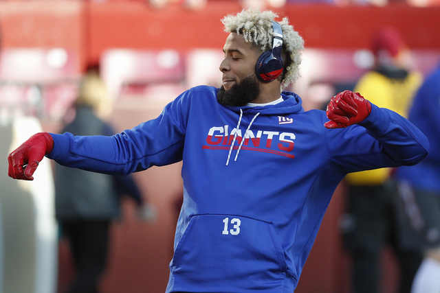 New York Giants wide receiver Odell Beckham (13) warms up before an NFL football game against the Washington Redskins in Landover, Md., Sunday, Jan. 1, 2017. (Alex Brandon/AP)
