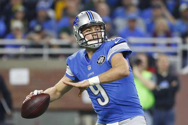 In this Jan. 1, 2017, file photo, Detroit Lions quarterback Matthew Stafford throws during the first half of an NFL football game against the Green Bay Packers, in Detroit. The Lions play against  ...