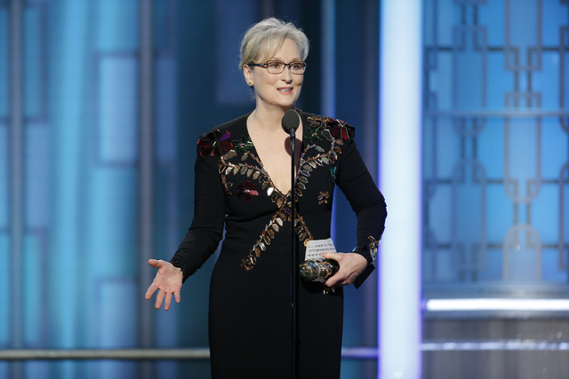 This image released by NBC shows Meryl Streep accepting the Cecil B. DeMille Award at the 74th Annual Golden Globe Awards at the Beverly Hilton Hotel in Beverly Hills, Calif., on Sunday, Jan. 8, 2 ...