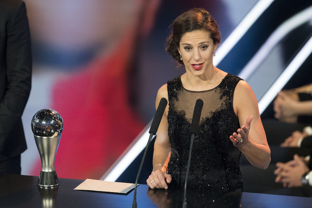 United States' Carli Lloyd who plays for Houston Dash, delivers a speech after winning the trophy for The Best FIFA Women's Player award during the The Best FIFA Football Awards 2016 ceremony held ...