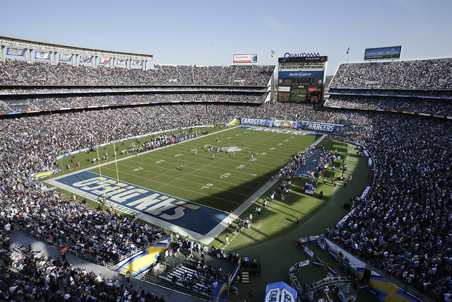 In this Nov. 16, 2014, file photo, the San Diego Chargers play against the Oakland Raiders during the first half of an NFL football game at Qualcomm Stadium in San Diego. (Gregory Bull, File/AP)