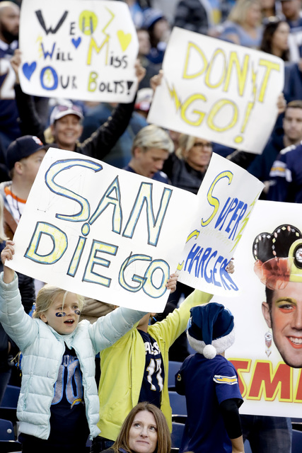 In this Jan. 1, 2017, file photo, San Diego Chargers fans hold signs calling for the team to stay in San Diego during the second half of an NFL football game against the Kansas City Chiefs, in San ...