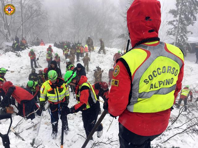 """Italian Mountain Rescue Corps """"Corpo Nazionale Soccorso Alpino e Speleologico"""" Soccorso Alpino  volunteers and rescuers work in the area of the avalanche-struck Hotel Rigopiano,  ..."""