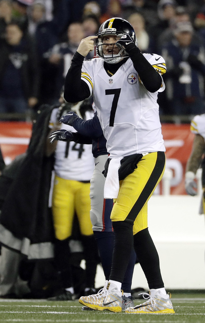 Pittsburgh Steelers quarterback Ben Roethlisbergerreacts to a play during the second half of the AFC championship NFL football game against the New England Patriots, Sunday, Jan. 22, 2017, in Foxb ...