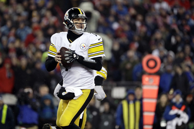 Pittsburgh Steelers quarterback Ben Roethlisberger drops back to pass during the first half of the AFC championship NFL football game against the New England Patriots, Sunday, Jan. 22, 2017, in Fo ...