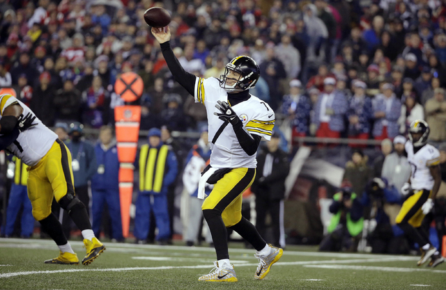 Pittsburgh Steelers quarterback Ben Roethlisberger passes against the New England Patriots during the first half of the AFC championship NFL football game, Sunday, Jan. 22, 2017, in Foxborough, Ma ...