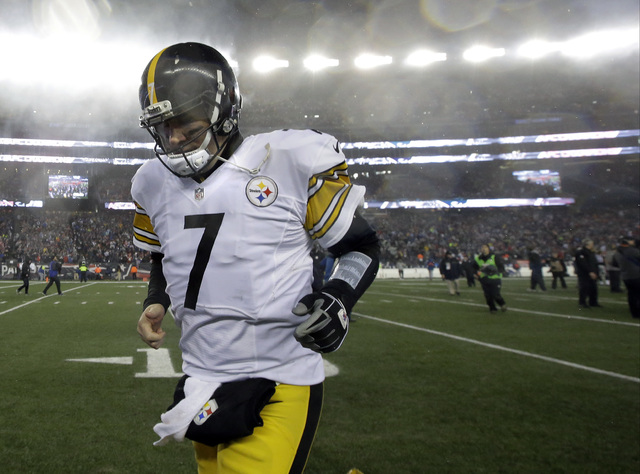 Pittsburgh Steelers quarterback Ben Roethlisberger leaves the field after the AFC championship NFL football game against the New England Patriots, Sunday, Jan. 22, 2017, in Foxborough, Mass. The P ...