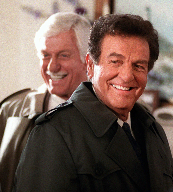 """Mike Connors, right, appears with Dick Van Dyke in an episode of the television show """"Diagnosis Murder,"""" Jan. 15, 1997. (Chris Pizzello/AP)"""