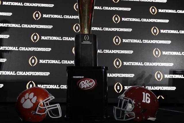 The championship trophy is seen after a news conference for the NCAA college football playoff championship game between Alabama and Clemson Sunday, Jan. 8, 2017, in Tampa, Fla. (David J. Phillip/AP)